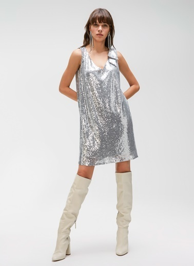 People By Fabrika Fiyonk Detaylı Payet Elbise Gümüş